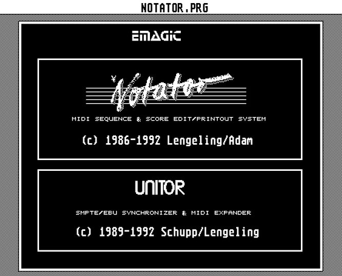 Emagic Notator Startscreen 1992 - Pix by Atari Steem deepsonic