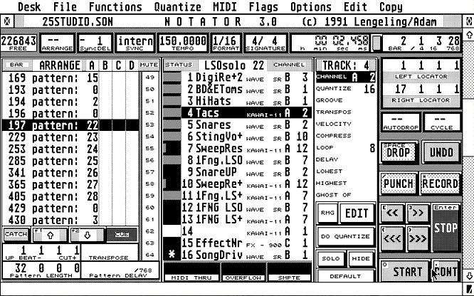 Emagic Notator SL on Atari 1994 - Screenshot out of Steem by deep!sonic 07.05.2010