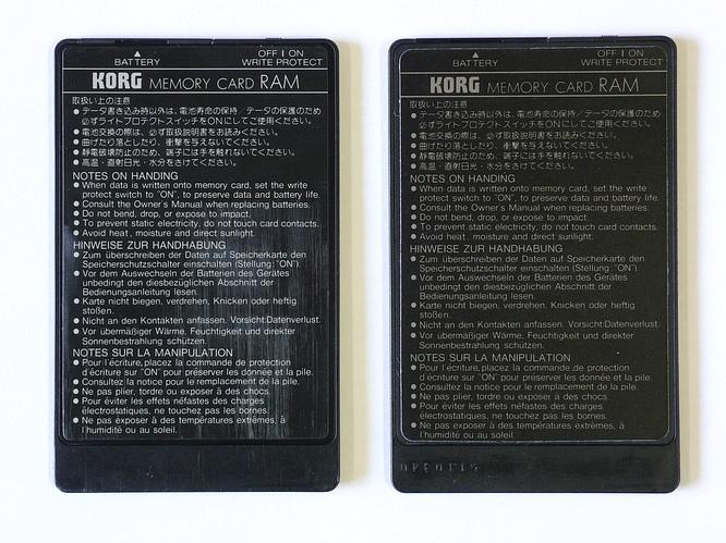 Korg MCR-02 128kbit and Korg MCR-03 256kbit Ram Cards by deep!sonic 26.02.2009