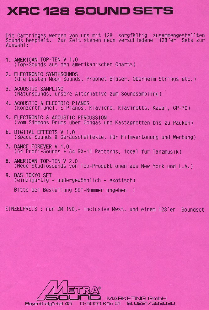 XRC Soundsets for DX Synthesizer by deep!sonic.ch 22.04.2007