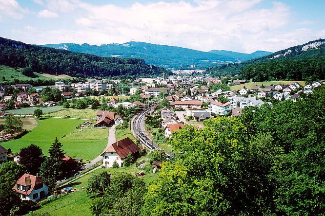 Aussichtspunkt auf der Festung in Aarburg gegen Olten