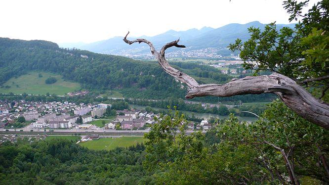 S�li Felsen, Sicht zum Aarburg - Born - Wangen