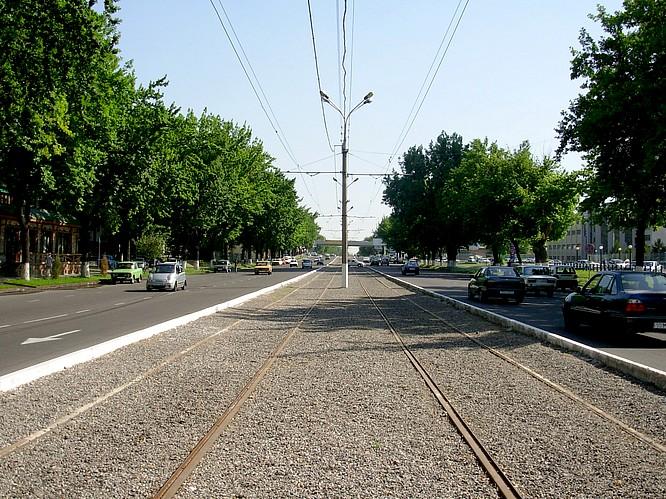 Road and small Railway in Tashkent