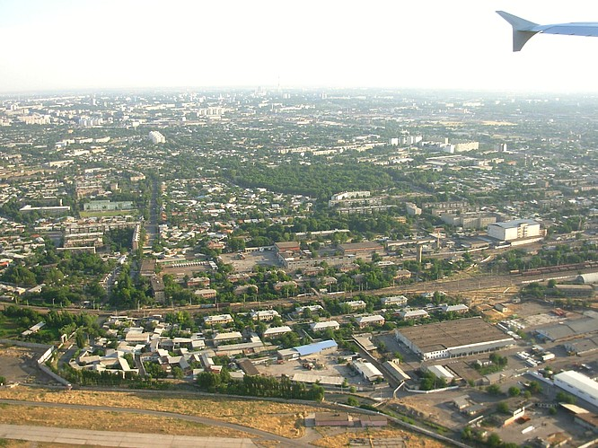 View out of Airplane down to Tashkent